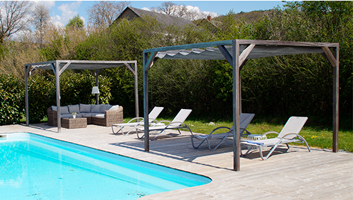 Pergola wood or aluminium with retractable roof or canopy