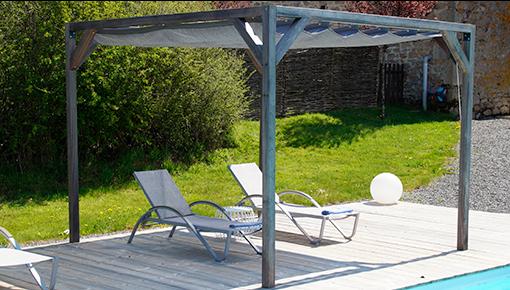 Wood pergola kits with waterproof retractable shade canopy