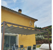 Lean to pergola B 318x309cm hardwood with retractable waterproof shade canopy