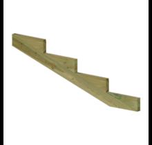 XL Trapbalk 4 treden van geïmpregneerd hout voor tuintrap