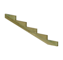 XL Staircase stringer 5 steps of pressure treated wood for garden stairs