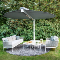 Heatsail LEAF parasol, terrasverwarmer, verlichting en verkoeling