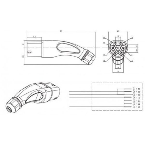 Type 2 (female) to Type 2 (male) Charging Cable | 32A, 3 Phases | 4m-6m-8m
