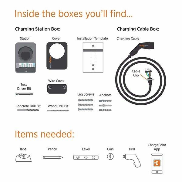 ChargePoint Point de charge domestique avec câble de type 2 - 1 phase 32A (6 ou 8 mètres)