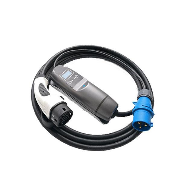 Typ2 auf CEE blau Tragbares Ladegerät | 32A, 1 Phase | 5m