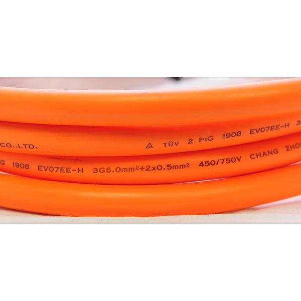 DUOSIDA Câble de charge monté SANS fiches. Prix au mètre - Disponible en 1 ou 3 phases et 16A ou 32A.