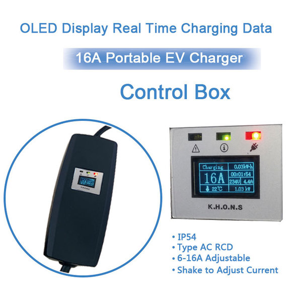 Khons Type 2 Portable Laadpunt met stekker voor normaal stopcontact  | 13A, 1 fase plug | 5m