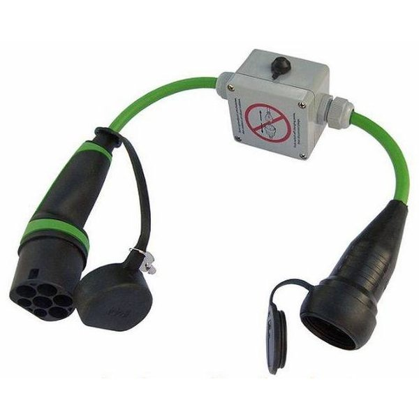 Adapter Typ 2 Ladepunkt auf normale Steckdose (Shuko) 1 Phase, 16A | 0,5 m