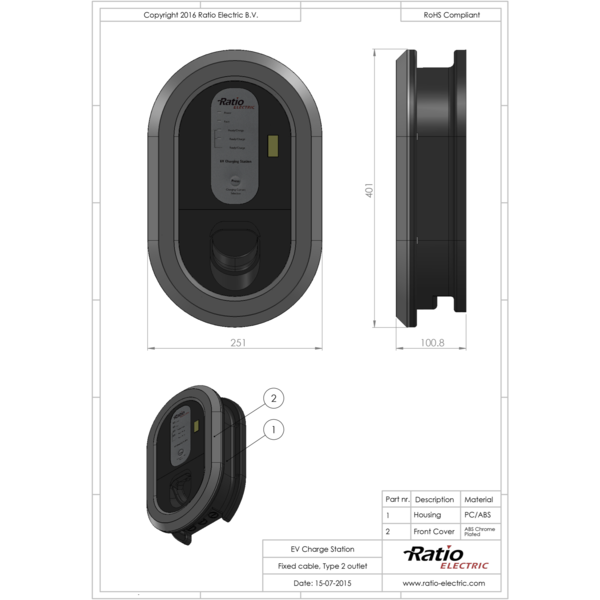 Ratio Charging point with fixed Type 2 cable - 3 phase 32