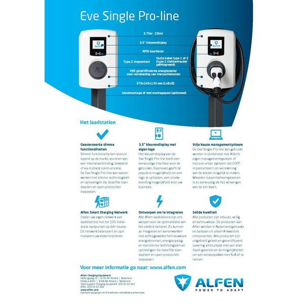 Alfen Pro-line with 5-8 meter fixed type 2 cable - up to max. 32A, 3 phases