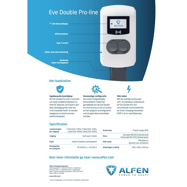 Alfen Pro-line with double Type 2 Socket - up to max 3 phase 32A