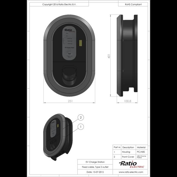Ratio Smart Home met type 2 stopcontact - tot 3 fase 32
