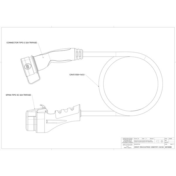 Scame Type 2 Car to Type 3 Charging Cable | 32A, 3 Phase | Frankrijk