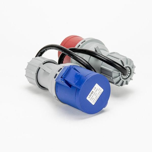 Soolutions CEE rood 32A (mannelijk) naar CEE blauw 32A (vrouwelijk)