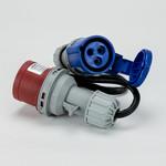 Soolutions CEE rood 16A (mannelijk) naar CEE blauw 16A (vrouwelijk)