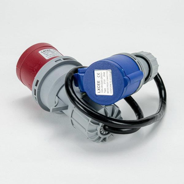 Soolutions CEE rood 32A (mannelijk) naar CEE blauw 16A (vrouwelijk)