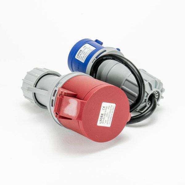 Soolutions CEE blauw 32A (mannelijk) naar CEE rood 32A (vrouwelijk)