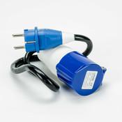 Soolutions Prise normale (Schuko) sur Blue CEE 1 phase 16A - Adaptateur de câble