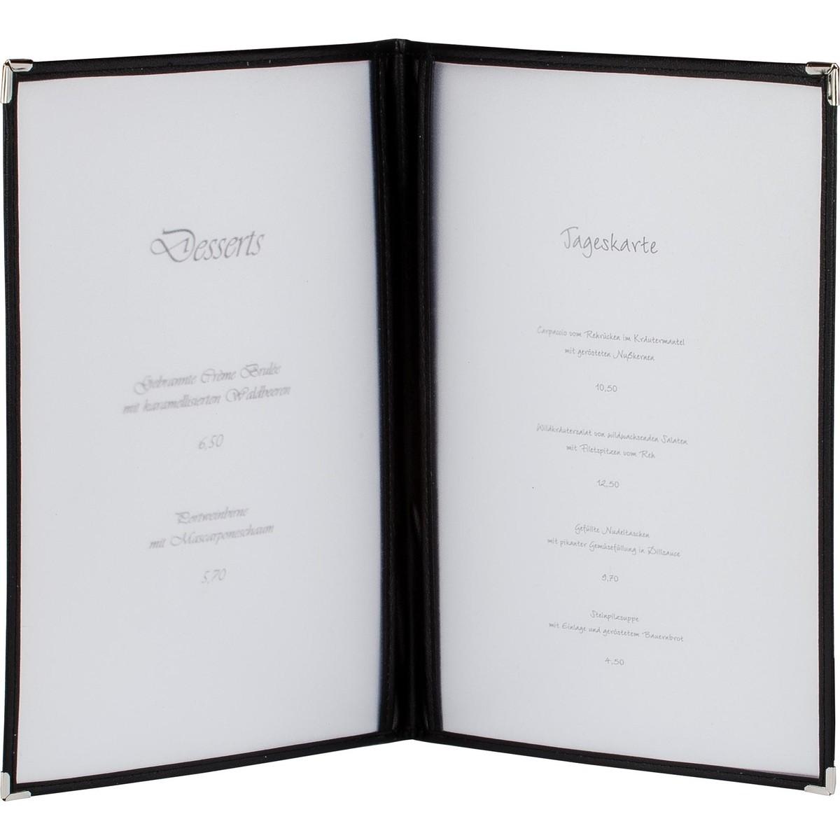 Amerik. Speisenkarte A4 mit 4 Fenster  schwarz, Ecken silber