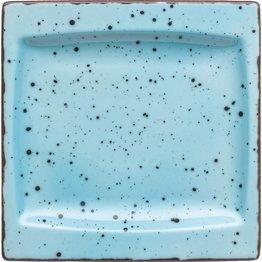 "Porzellanserie ""Granja"" aqua Platte flach eckig, 18 x 18 cm"