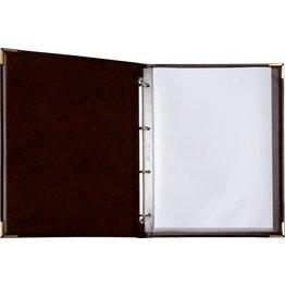 Speisekarte, Metallecken gold A4, weinrot
