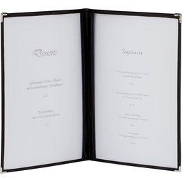 Amerikanische Speisenkarte A5 4 Fenster schwarz, Ecken silber - NEU