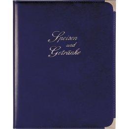Speisenkarte, Metallecken silber A4, royalblau