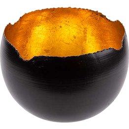 Teelichthalter schwarz/gold, rund Ø 6cm - NEU