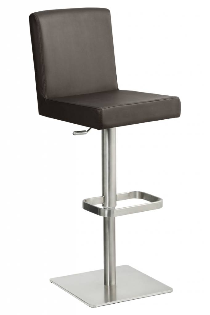 Trendy Designs RVS Barkruk Comfort Antraciet Grijs Leer