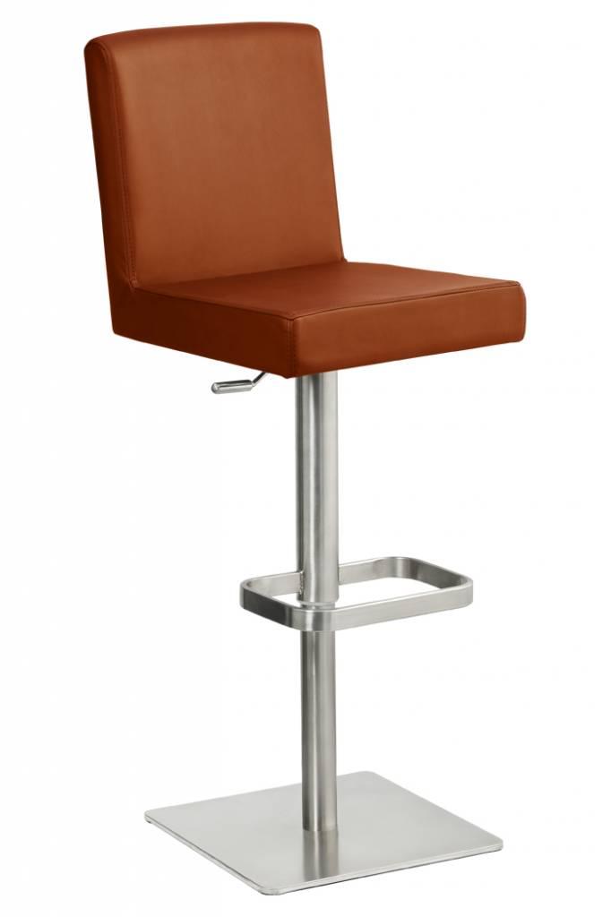 Trendy Designs RVS Barkruk Comfort Cognac Leer