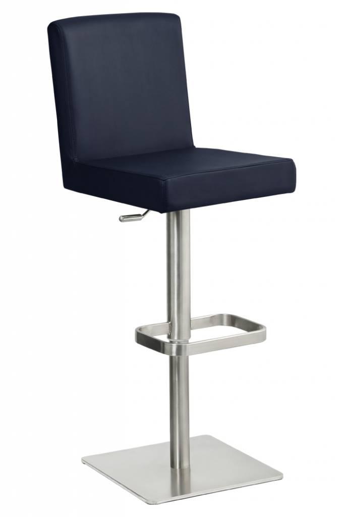 Trendy Designs RVS Barkruk Comfort Kobalt Blauw Leer