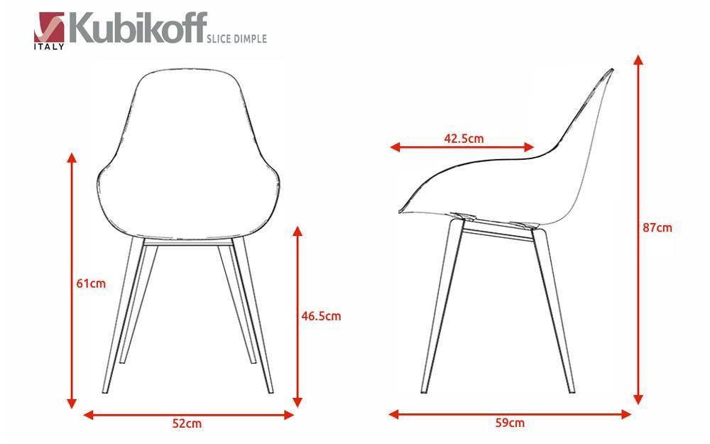 Kubikoff Kubikoff stoel Slice Dimple Closed - Wit - Eiken - Rood