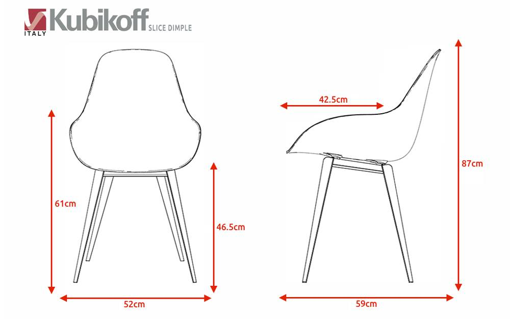Kubikoff Kubikoff stoel Slice Dimple Closed - Wit - Eiken - Zwart