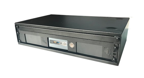 2U Rack with 1.5U NUC rackmount and 0.5U blind plate