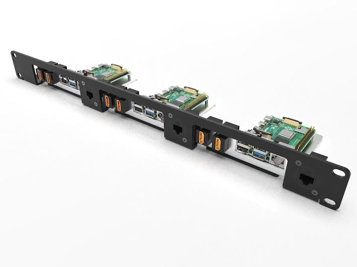 Raspberry Pi 19 inch rackmount for 1-3 RBpi's