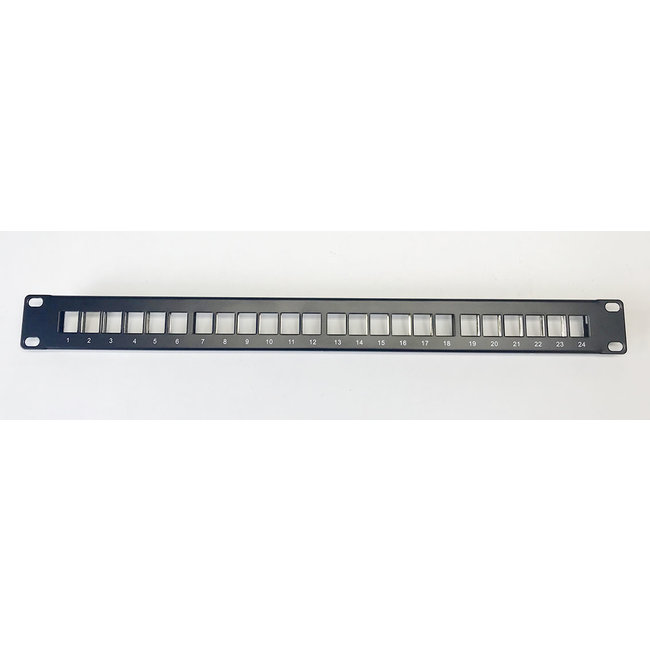 24 slots 1U 19 inch panel for 24x inserts/connectors, incl. 24 blank covers
