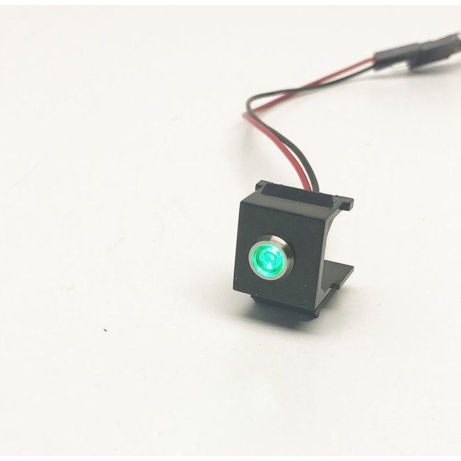 Snap-in LED Green 3-6V. Comes pre-wired with pin headers (2 wires)