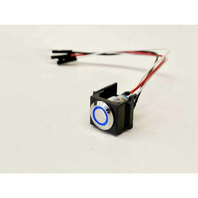 Snap-in momentary push button with blue LED ring