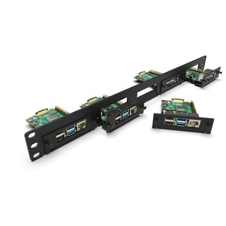 Raspberry Pi 19 inch 1U rack mount for 5x RBPi, FRONT REMOVABLE!