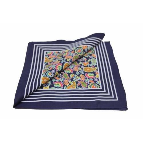 van Gelderen Boeren zakdoek  Paisley donkerblauw 55 x 55 cm
