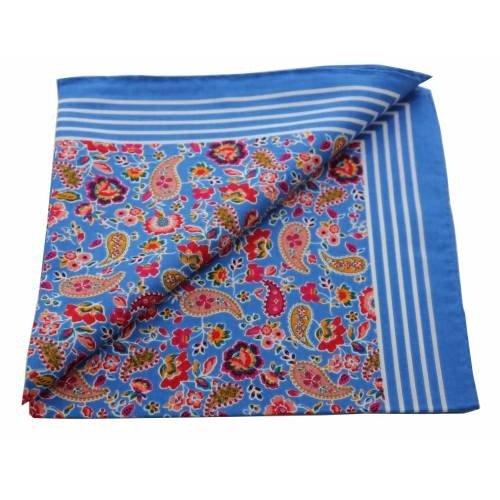 van Gelderen Boeren zakdoek Paisley blauw 55 x 55 cm