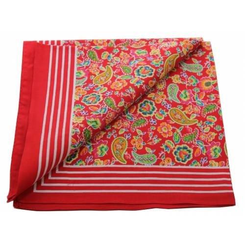 van Gelderen Boeren zakdoek Paisley rood 55 x 55 cm