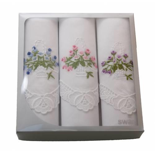 Swan Dames zakdoeken borduur kant 3-pak