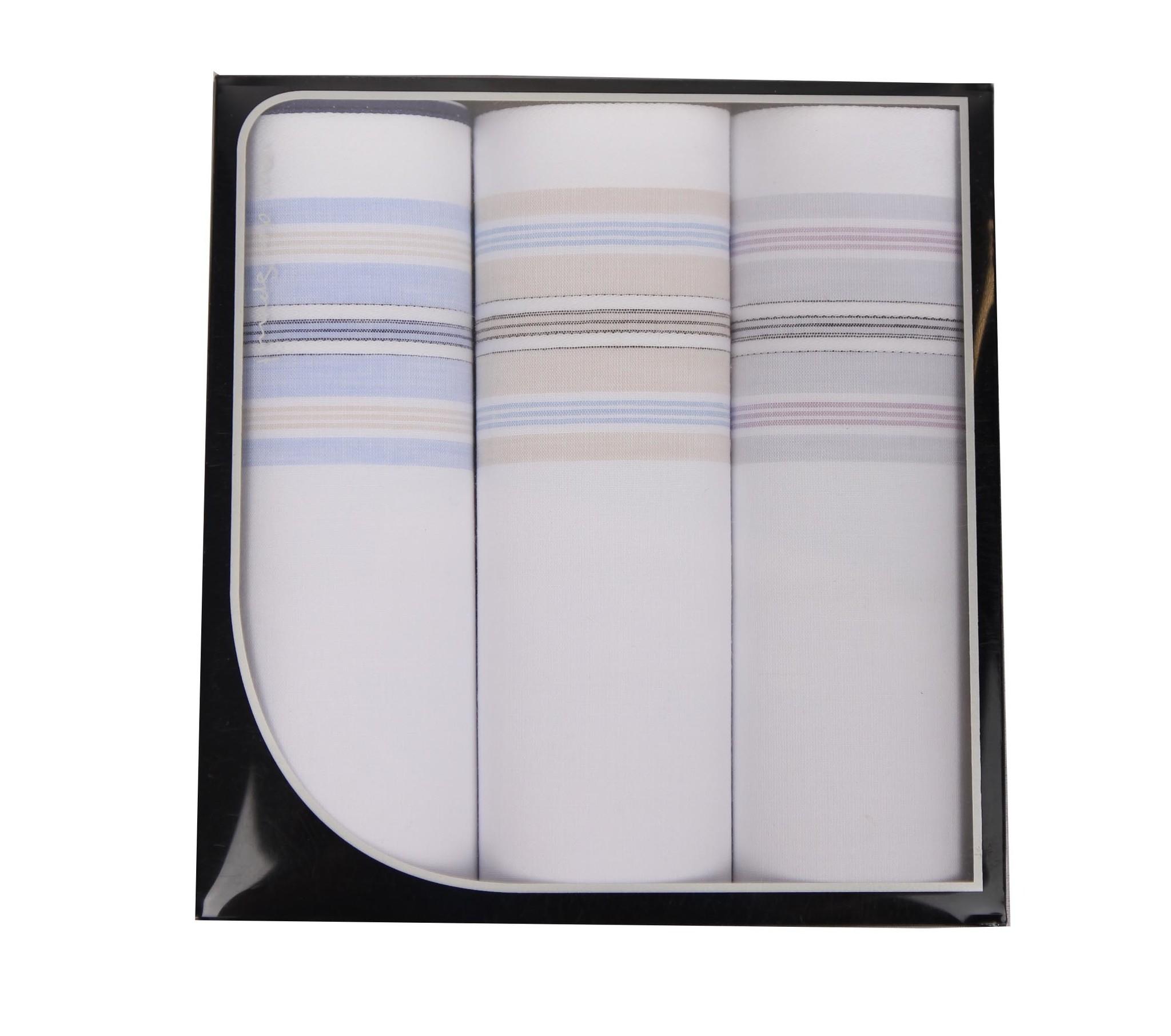 Swan Heren zakdoeken, White Blue, 3 stuks