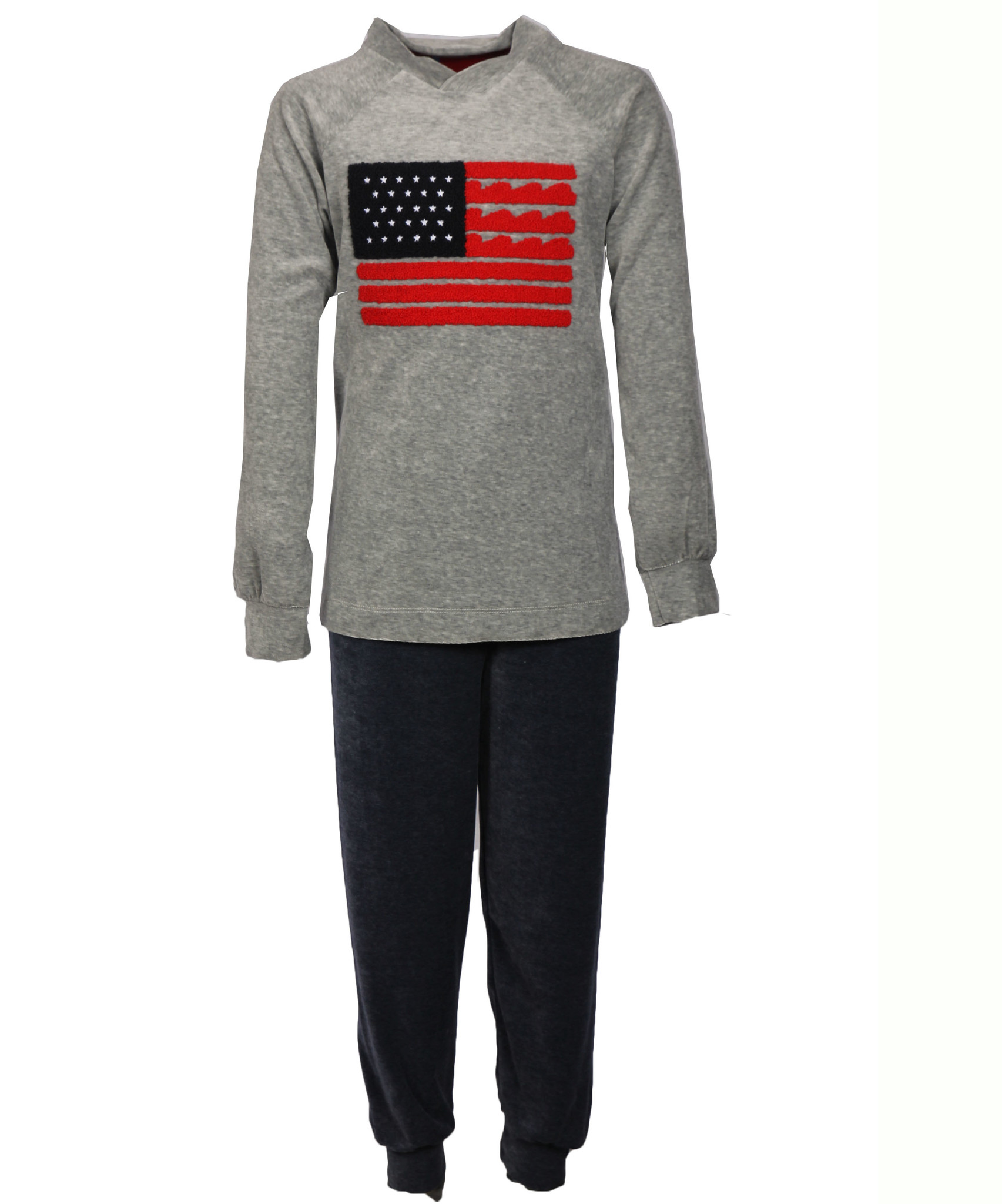 Gentlemen jongens Velours pyjama USA Grey