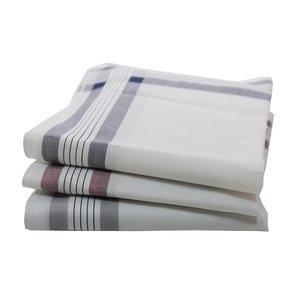 Swan Swan Heren zakdoeken wit streep, dikkere kwaliteit, 12 stuks