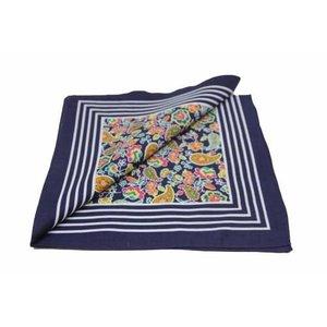 Merkloos Boeren zakdoek  Paisley donkerblauw 55 x 55 cm