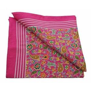Merkloos Boeren zakdoek  Paisley Roze 55 x 55 cm