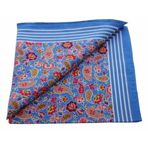 Merkloos Boeren zakdoek Paisley blauw 55 x 55 cm