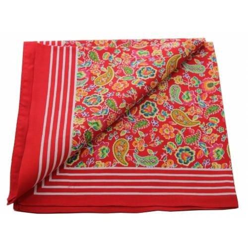 Merkloos Boeren zakdoek Paisley rood 55 x 55 cm